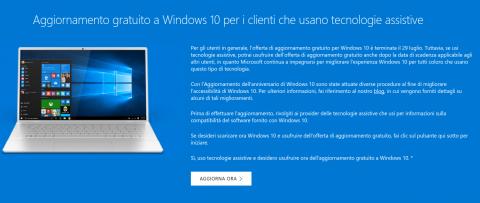 aggiornamento gratuito a windows 10