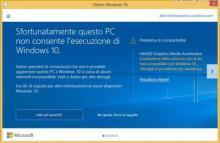 windows 10 aggiornamento non compatibile